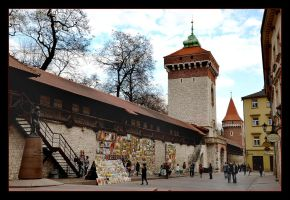 Walls Of Old Cracow And Florian Gate by skarzynscy