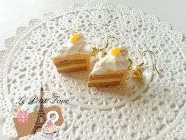 Orange Mocha Slice Cake Earring by AngelicLight100