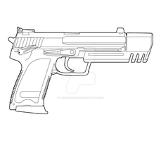HK USP Match Lineart by MasterChiefFox