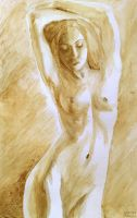 Nude woman painted with coffee by CORinAZONe