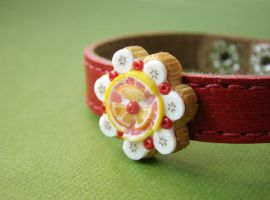 Fruit Tart Leather Bracelet by PetitPlat