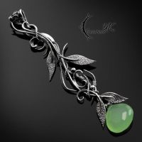 FYRHNAR - Silver and Green Chalcedony. by LUNARIEEN