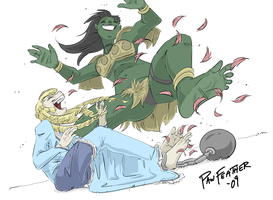 Princess n Orc Woman Tickled by PawFeather