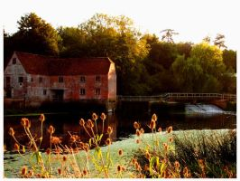 Abandoned mill at sunset by devyart