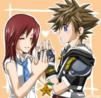 KH2: Sora and Kairi by neneno