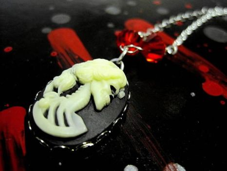 Gothic DeadGirl Cameo Necklace by mzvampy
