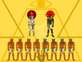 Gods in Pyramid by V-male