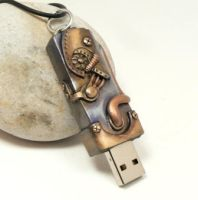 Steampunk Flash Drive by DesertRubble