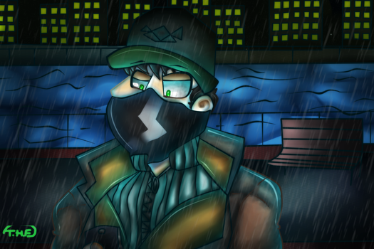 On the phone (Watchdogs) by tophatedfox