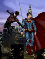 Ultimate Spider-man and Earth One Superman V2 by SUPERMAN3D