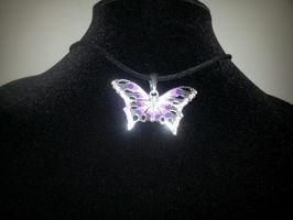 Purple Swarovski Crystal Butterfly Necklace by MysticalMayhemJewel