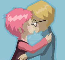 Jeremy and Aelita kiss by codelyokofan92