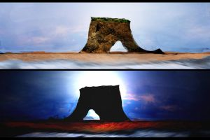 Day and Night by the Rock by m7stone