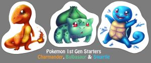 Pokemon 1st Gen Starters Key chains by roseannepage