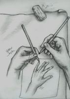 Hands drawing hands drawing... by DragonSpark