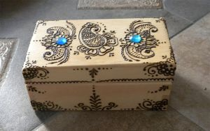 Blue Gem Paisley Henna Box Finished by flowerwills