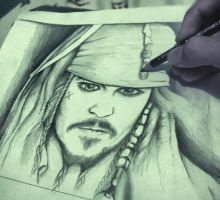 johnny depp pirates of the caribbean Drawing by me by Mrbarclonista
