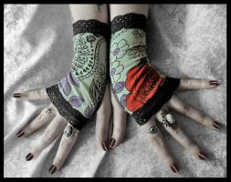 Rose Garden Fingerless Gloves by ZenAndCoffee