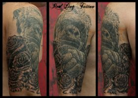 Paul Sleeve I by Reddogtattoo