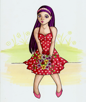Spring flowers and a polka dotted dress by lordbatsy