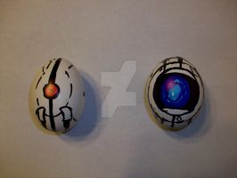 Wheatley and Turret Eggs by icygumball3000