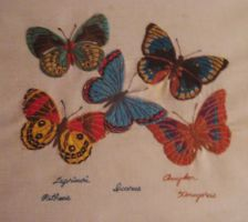 Hand Embroidery On Linen Butterflies by SueJOwen