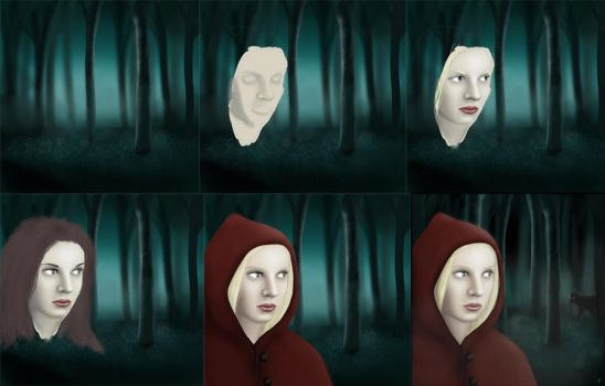 Riding hood stages by FionaStrange