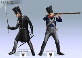 Prussian infantryman and Cavalier by RobbieMcSweeney