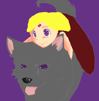 Young Princess Aeris and Shadow by GothGurl86