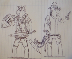 Andrew Brony and Daring DO by spyaroundhere35