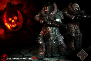 gears of war 3  theron wall by arcadet