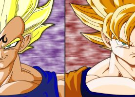 Majin Vegeta_SS2 Goku_Finished by bluepelt
