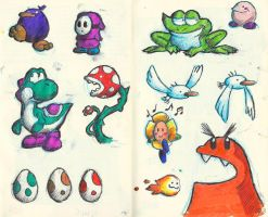 Yoshi's Island doodles by little-ampharos