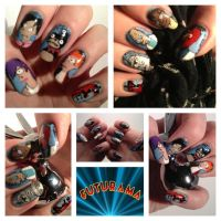 Futurama Nail Art by MistyPixelFan