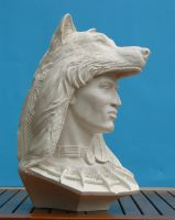 native american with wolf by renemarcel27