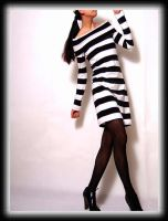 Black White Stripy Mini Dress3 by yystudio