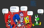 Mario Sonic Blaze Sponge Yoshi Playing Heroin Hero by DarkraDx