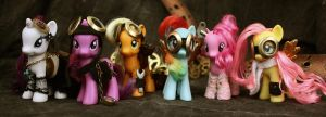the Mane 6 Steampunked by bluepaws21