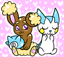Buneary and Pachirisu by CodTier