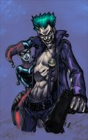 Joker and Harley by SephirothArt