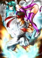 Marvel Vs. Capcom: Ryu and Succubus by ionditol