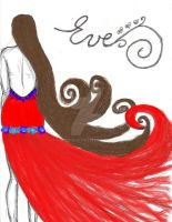 Long hair fashion illustration Red Dress by paper-eve