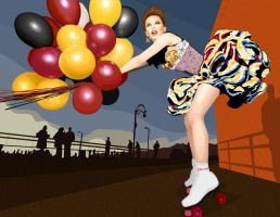 Balloons and Roller Skates by raynaliz