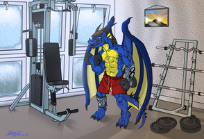 ~commission~ DragonMaster616 at the gym by Gan-Retamero