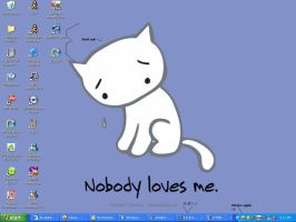 sad kitty desktop T_T by meowfox77