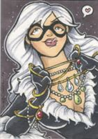 black cat sketch card by katiecandraw