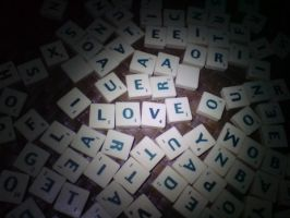 LOVE on Scrabble Tiles by Rukitomi