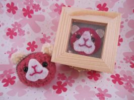 Pink Guinea Pig Keychain + Box by AmiTownCreatures