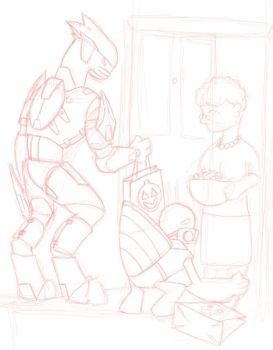 Trick or Treat? Initial Sketch by Dark-Necro-Master