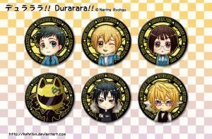 DRRR - Chibi Button Set by kehrilyn
